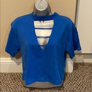 Adorable Royal Blue Tee with Cutouts NWT Size S